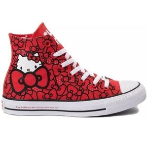 NEW Sz 7 Hello Kitty x Converse Shoes Red Bow Tie